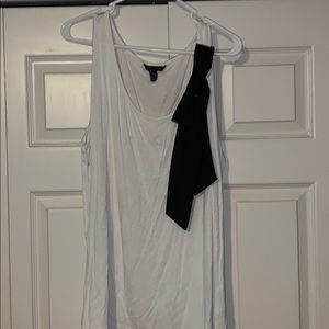 White Tank with Black Ribbon